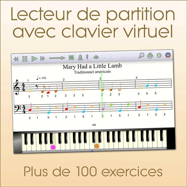 Solfège 1 - Plus de 100 exercices via un lecteur de partition avec clavier virtuel